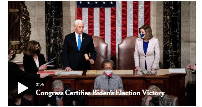 Congress Confirms Biden And Harris Electoral College Win!