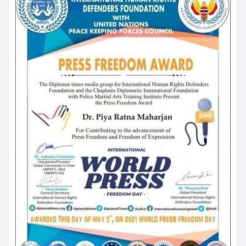 Interfaith Peace, Youth Activist Awarded 'Press Freedom Award'
